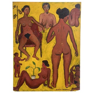 Nudes on Yellow Oil Painting by Eugene Waddell