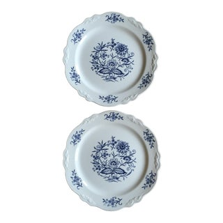 Vintage Blue Dresden China Plates - A Pair