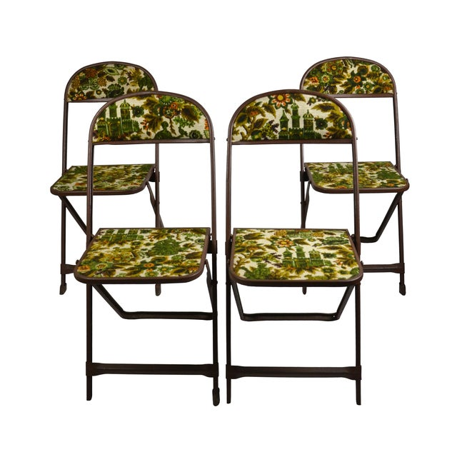 Vintage Tapestry Folding Chairs - S/4 - Image 1 of 6