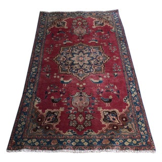 Crimson & Blue Sarouk Persian Rug- 3′4″ × 6′1″