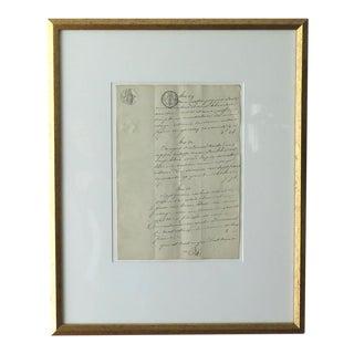 Framed Antique French Document