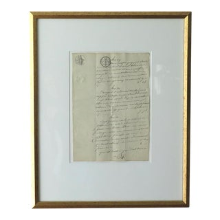 Framed Antique French Document