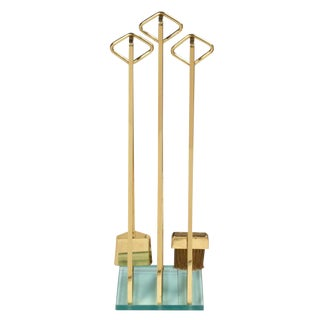 Diamond Handle Brass Fireplace Tool Set