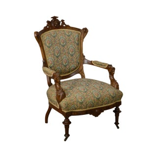 Antique John Jelliff Victorian Renaissance Carved Walnut Arm Chair