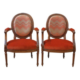 Pair of French Louis XVI Style Round Back Open Arm Chairs