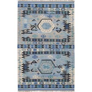 Vintage Indigo & Navy Blue Kilim Rug - 5′ × 8′