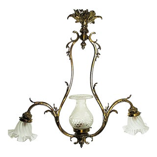 1870s Antique French Doré Bronze Chandelier