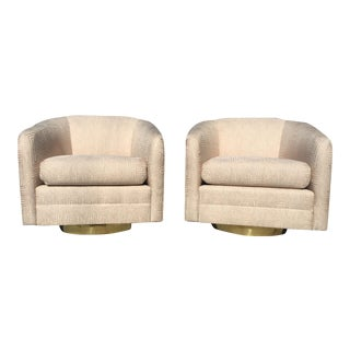Mid-Century Blush Pink Swivel Chairs - A Pair