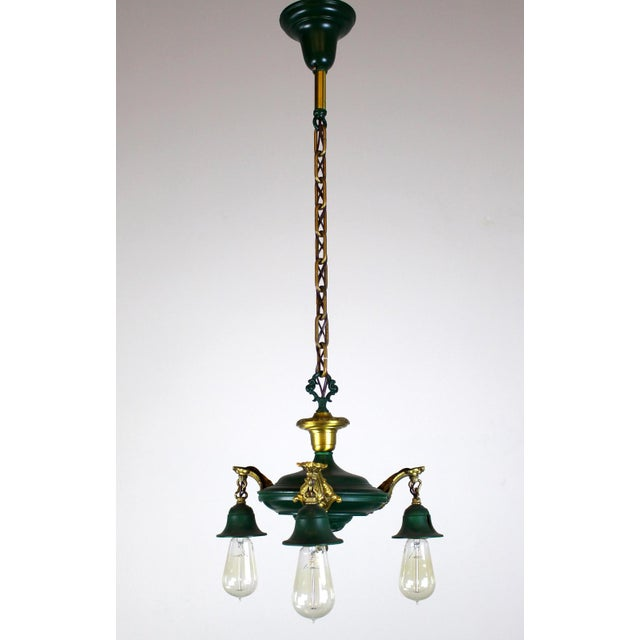 3 Light Pan Fixture in Gold & Green. - Image 2 of 8