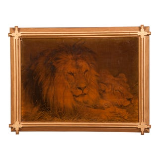 A mysterious oil on canvas painting depicting a reclining lion, the king of animals, within the original gilded frame with unusual crossed corners
