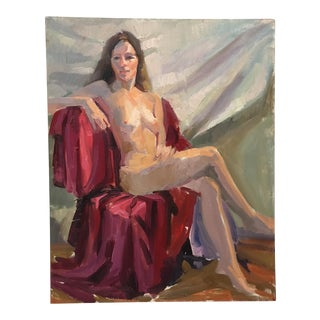 Vintage Nude Figure Study in Oil Painting