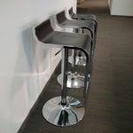 Image of Modern Chrome & Black Bar Stools - Set of 3