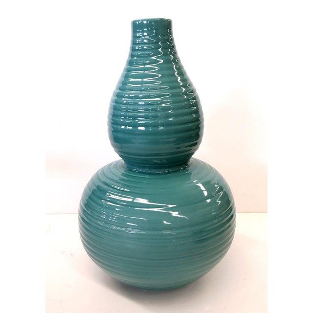 Transitional Turquoise Ribbed Custom Lamp Base - Image 2 of 11