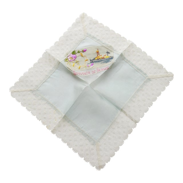 "Image of World War I ""Souvenir De France"" Silk Handkerchief"