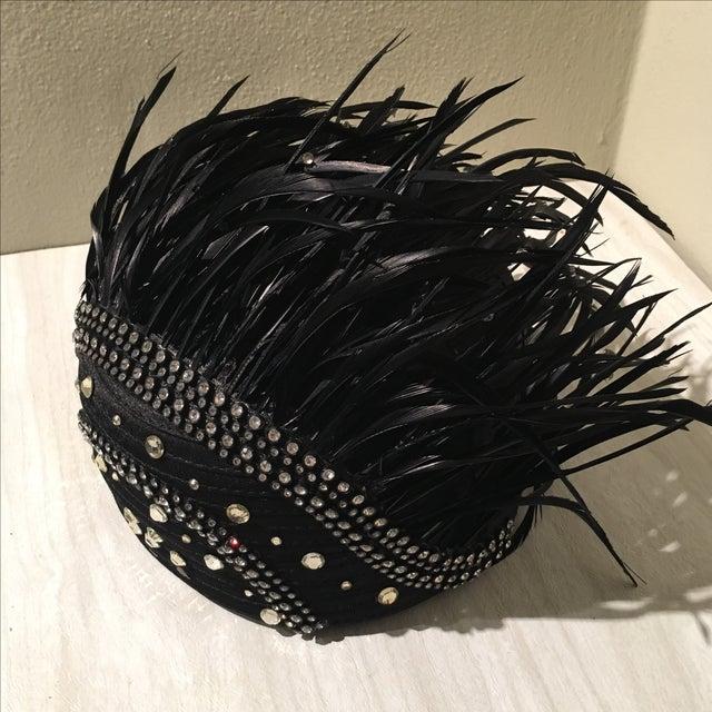 Vintage Feather & Rhinestone Hat - Image 3 of 6