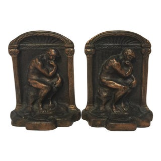 Cast Iron Thinking Man Bookends - Pair