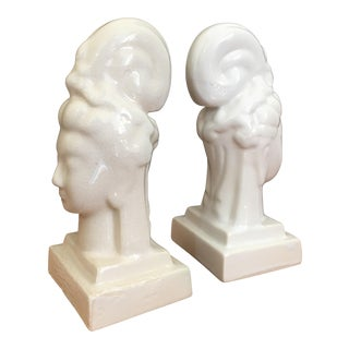 Buddhist Goddess White Ivory Bookends - A Pair