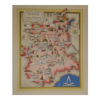 Vintage Map of Piedmont & Valle d'Aosta, Italy