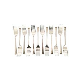 Antique Silver Dessert or Cake Forks - Set of 12