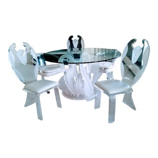 Vintage Lucite Swan Dining Table & Tuxedo Chairs - Set of 6