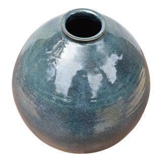 Vintage Teal Ceramic Vase