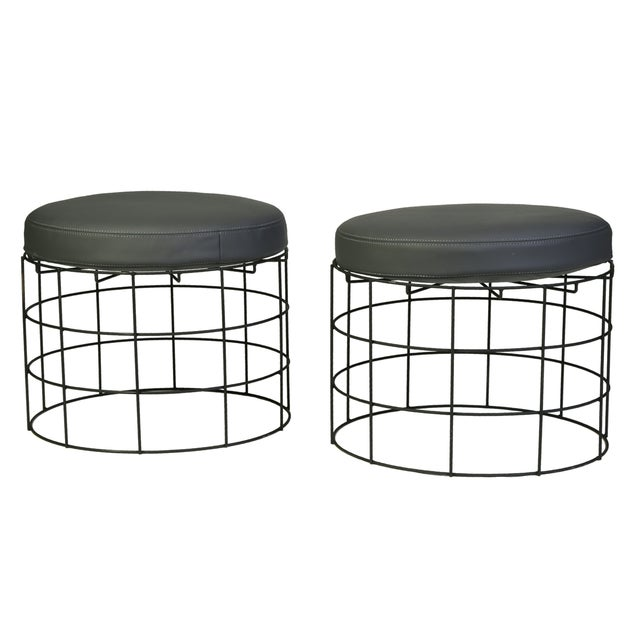 Image of Industrial Round Metal Ottomans - A Pair