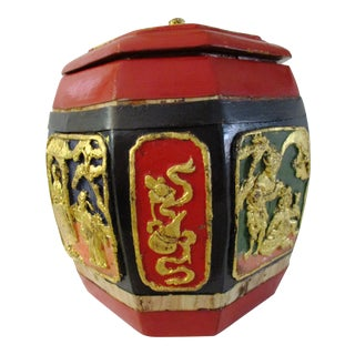 Vintage Asian Hand-Painted Wood Lidded Box