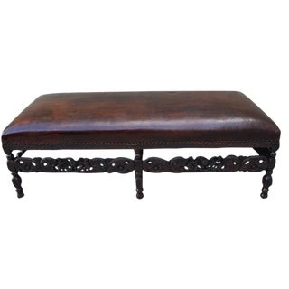 19th-C. English Carved Leather Bench
