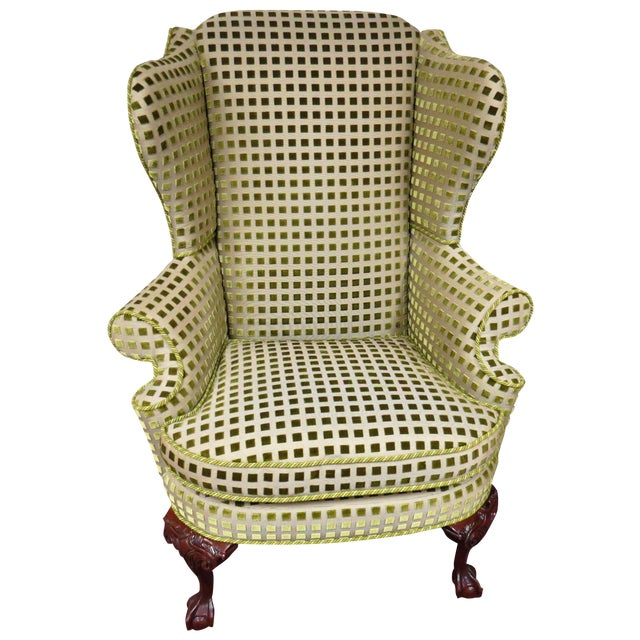 Chippendale Queen Anne Wing Chair with Carved Legs - Image 1 of 7