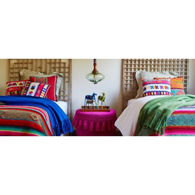 Peruvian Orange & Blue Frazada Pillow Cover - Image 2 of 2