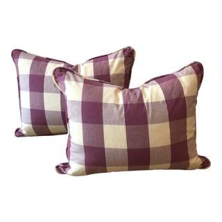 Purple Gingham Check Pillows - A Pair