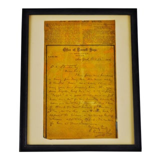 Antique Framed Russel Sage Newspaper Article Cutout