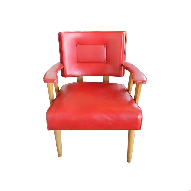 Mid-Century Modern Red Arm Chair - Image 2 of 4