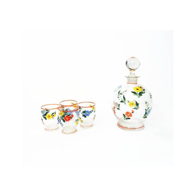 Vintage 5-Piece Floral Czech Decanter Set - Image 2 of 6