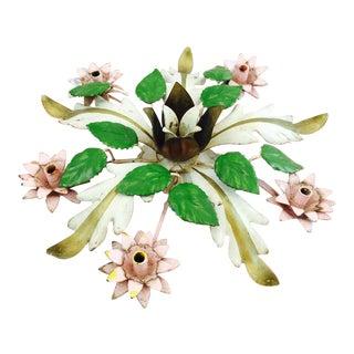Antique Floral Tole Candleholder
