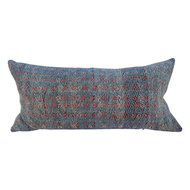Over-Stitched Indigo Tribal Pillow - Image 1 of 6