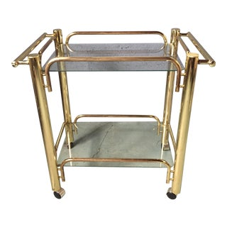 Vintage Gold Bar Cart on Wheels