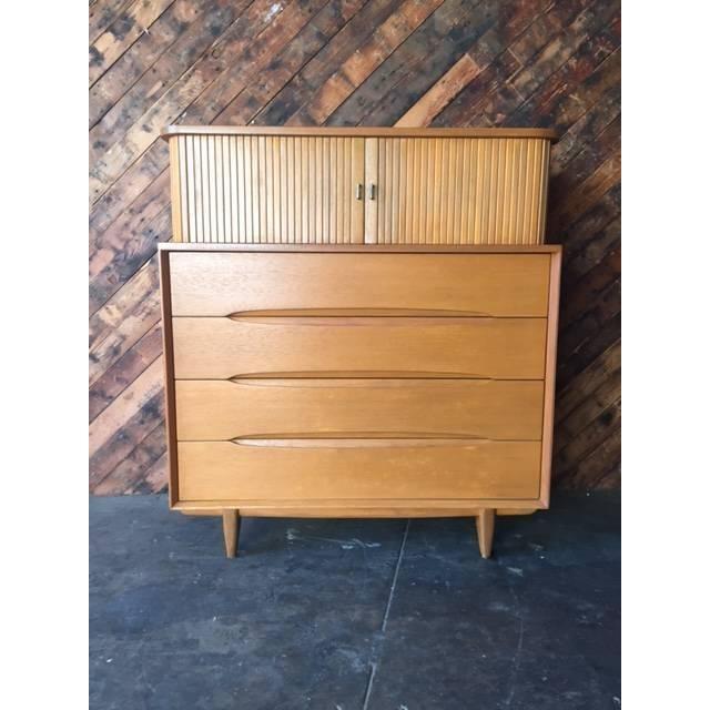 Brown Saltman Mid-Century Tambour Highboy Dresser - Image 2 of 7