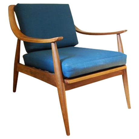 Danish Modern Vintage Lounge Chair With New Upholstery by Peter Hvidt - Image 1 of 8