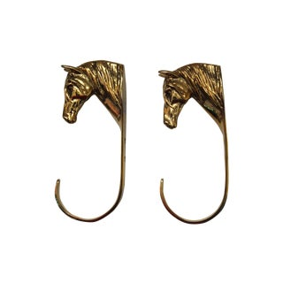 Brass Horse Head Hooks - Pair