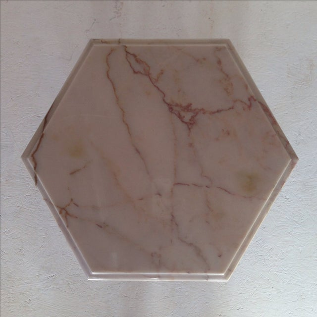 Image of Classic Hexagonal Marble-Top Side Table