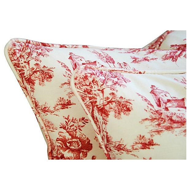 French Country Toile Pillows - A Pair - Image 5 of 6