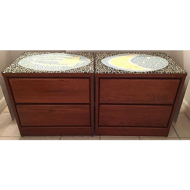 1970's Mosaic Top Nightstands - A Pair - Image 2 of 10