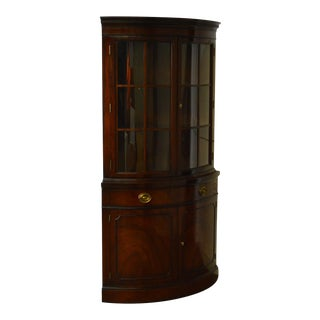 Drexel New Travis Court Vintage Bow Front Mahogany Corner Cabinet