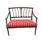 Image of Vintage 1930's Wood and Fabric Bench