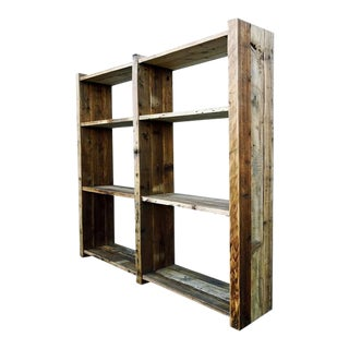 Rustic Reclaimed Pine Wood Storage Bookshelf