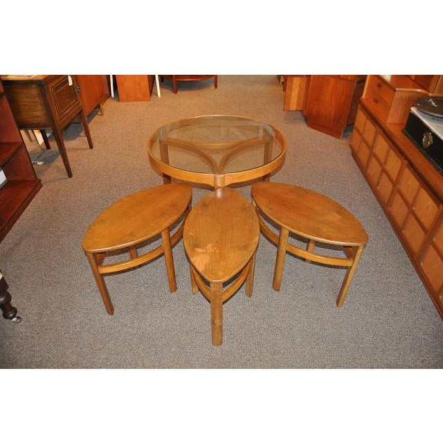Round Teak Coffee Table: 1960's Round Teak Coffee Table With Nesting Tables