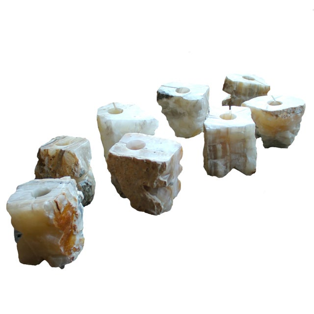 Natural Solid Marble Candle Holders - Set of 4 - Image 1 of 3