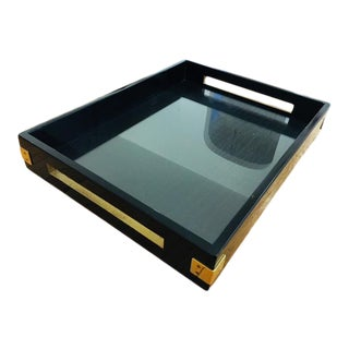 Large Black and Gold Serving Tray