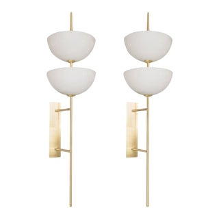 Pair of Monumental Reverse-Dome Trophy Sconces in Murano Milk Glass and Brass